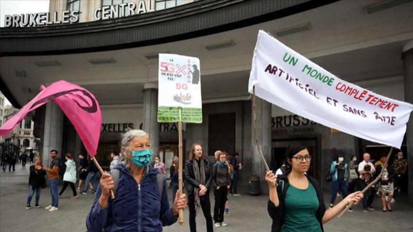 Belçika'da 5G'ye karşı gösteri düzenlendi
