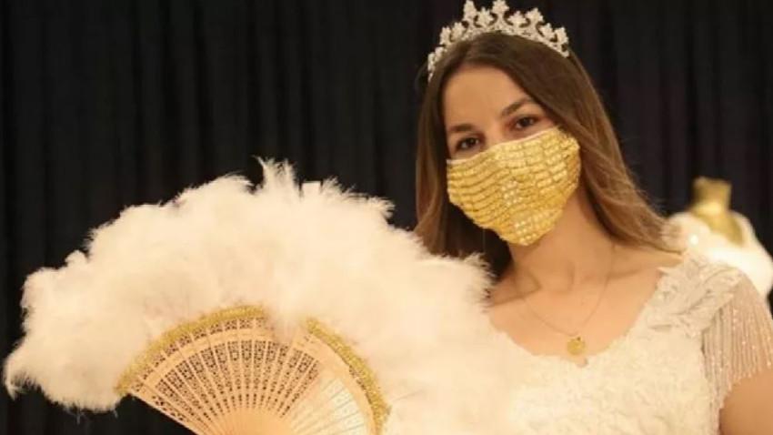Gelinler için 14 bin TL'ye altın işlemeli maske