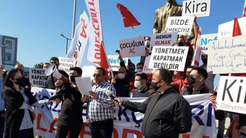 Turizm emekçileri de açılma istiyor... Girne'de eylem yaptılar